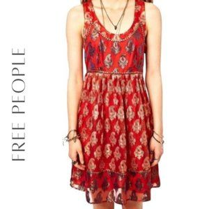FREE PEOPLE Red & Gold Paisley Print Dress, 4